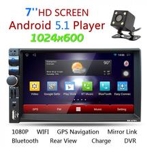 цена на 2Din Android 5.1 Car Radio Stereo 7 Inch Capacitive Touch Screen High Definition 1024x600 GPS Navigation Bluetooth USB SD Player