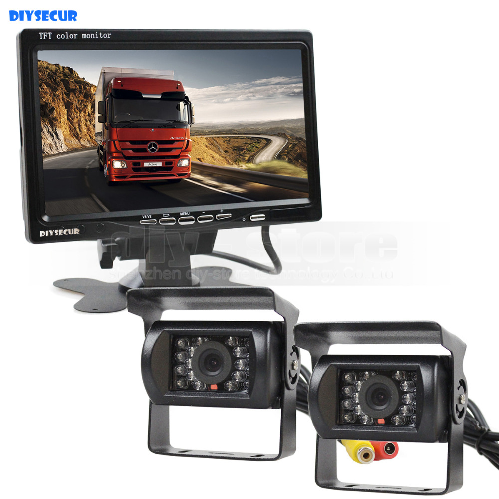 DIYSECUR DC12V-24V Reversing System 7inch TFT LCD Car Monitor + 2 x IR Night Vision Rear View Car Camera for Bus Houseboat Truck diysecur 4pin dc12v 24v 7 inch 4 split quad lcd screen display rear view video security monitor for car truck bus cctv camera