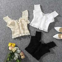 Shintimes 2020 Neue Sommer Herbst Bustier Weiß Schwarz Tank Top Weibliche Sexy Bandage Ärmel Crop Top Zipper Frau Kleidung