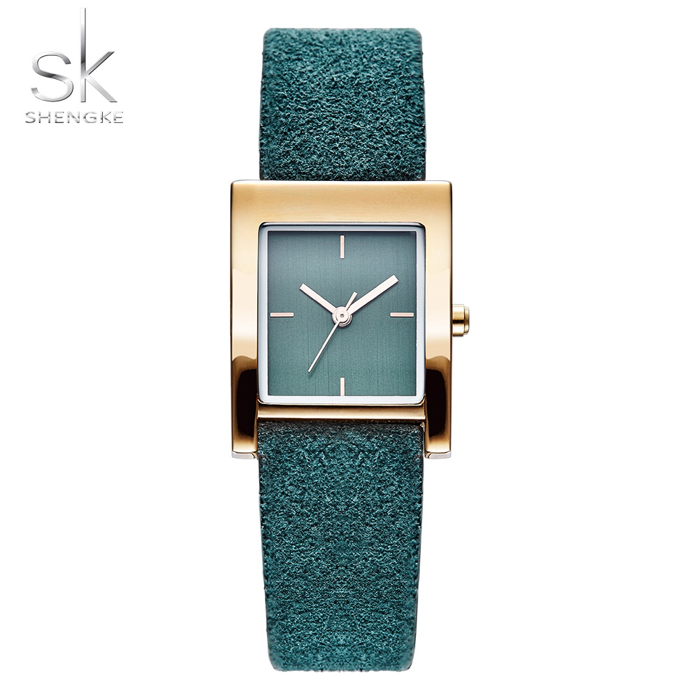 Shengke Quartz Watch Women Luxury Antique Square Genuine Leather Lady Watches Relogio Feminino Montre Femme Gold Dial Watch julius quartz brand lady watches women luxury rose gold antique square casual leather dress wrist watch relogio feminino montre