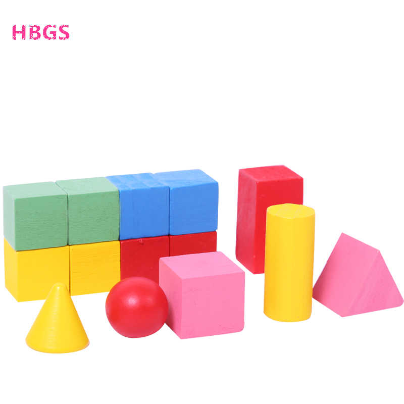 Wooden 3D Shapes Geometric Solids Montessori Learning Education Math Toys  Resources for School