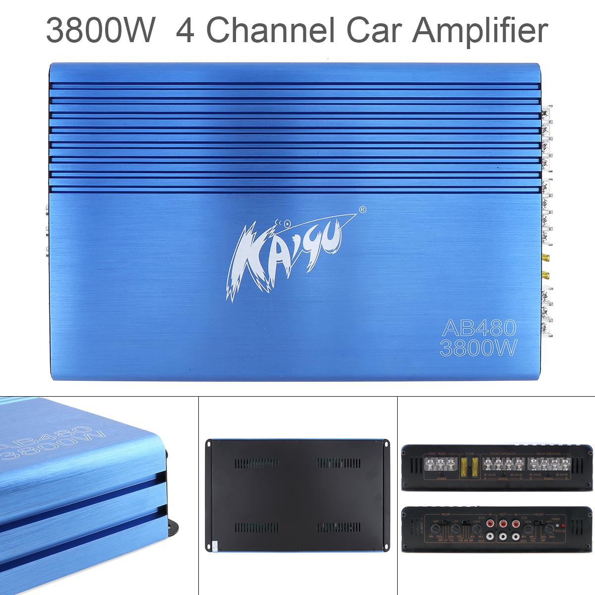 3800W Car Amplifier Class AB Digital 4 Channel Blue 12V Aluminum Alloy High Power Car Stereo Audio Amplifier Amp for Car Home aiyima 12v tda7297 audio amplifier board amplificador class ab stereo dual channel amplifier board 15w 15w