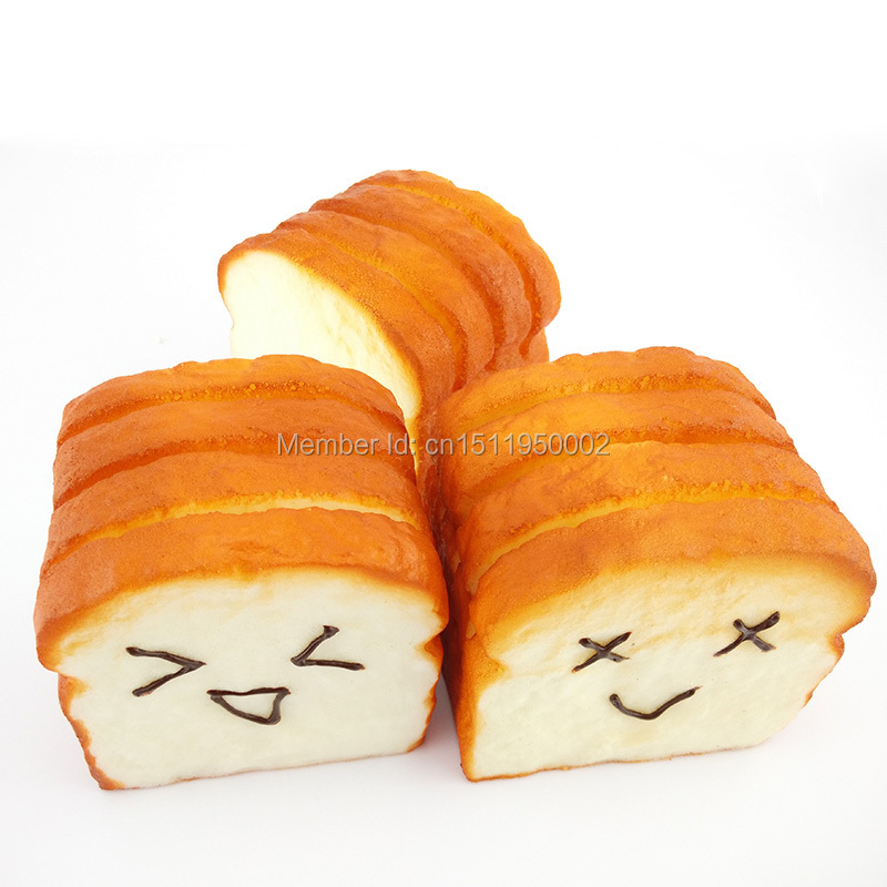 15/lots Jumbo Sliced Toast Squishy Bread Scent Expression Card Phone Holder Toys Hand Pillow ...