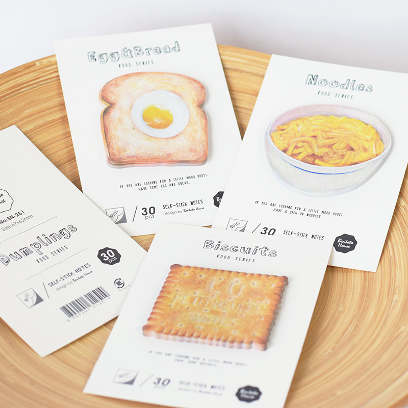 30 Sheets/pack Tasty Noodles Cookie Buns Bread Memo Pad Self-adhesive Sticky Notes Office School Supplies Memo Pad