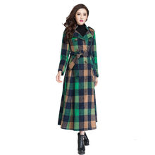 High Quality Cashmere Coat 2016 Autumn and Winter Fashion Ultra Long Plaid Outwear Double Breasted Slim Woolen Female Overcoat