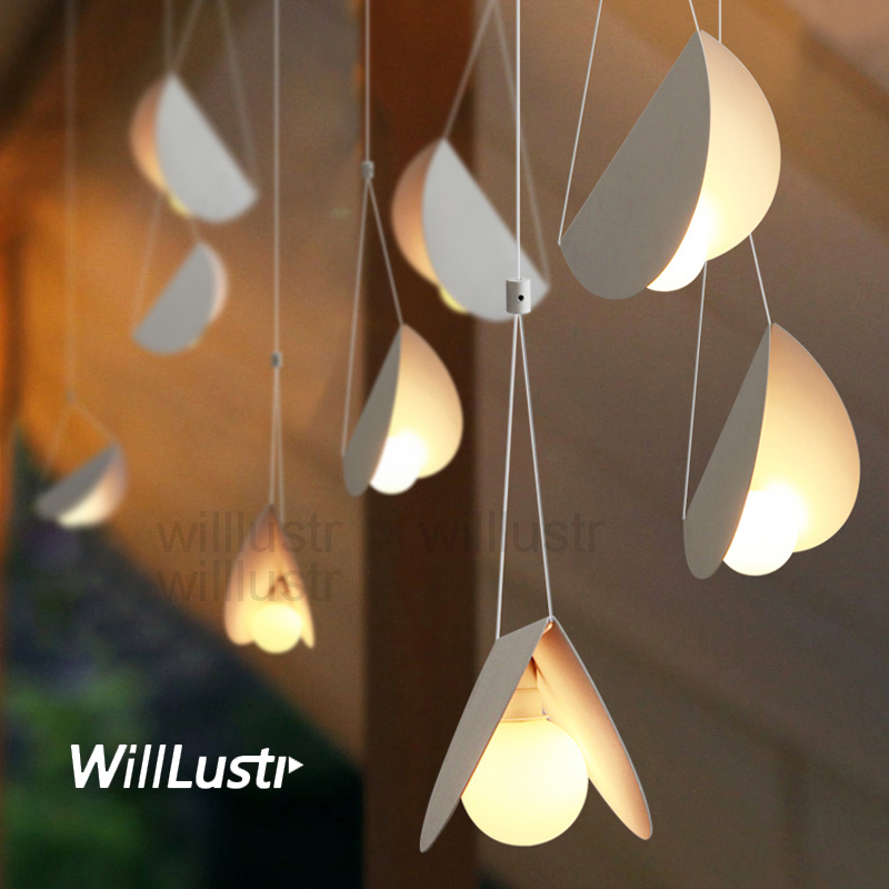 Image 4 - Flying Folded Paper Metal Origami Pendant Lamp Art Iron Suspension Light Cafe Dinning Room Restaurant Hotel Bar Hanging Lighting-in Pendant Lights from Lights & Lighting