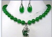 Schmuck schöne 10mm grün stein ohrring drachen anhänger Halskette set>> neue uhr großhandel Quarz stein CZ kristall