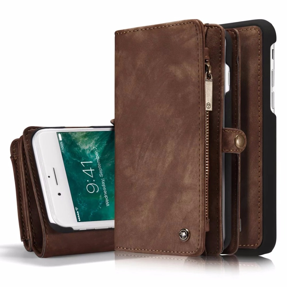 For Apple iPhone 7 6 6S Plus Multi functional 14 Cards Holder Wallet Case Vintage Genuine