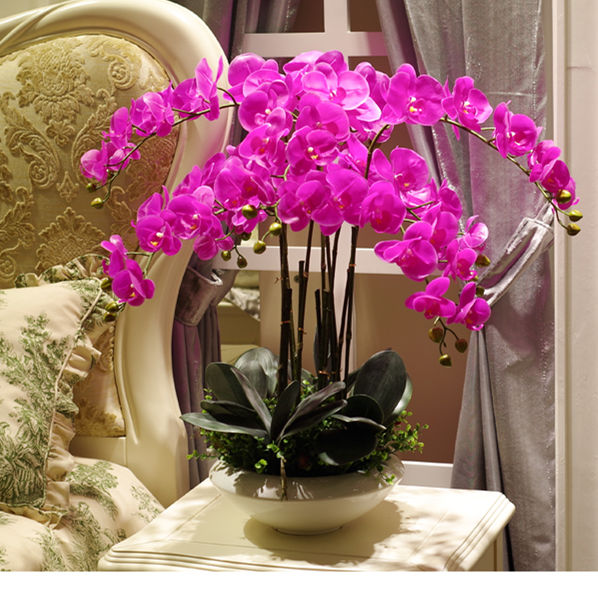 Kunstmatige big size PU real touch hand gevoel orchidee bloemstuk bonsai bloem alleen geen vaas luxious bloem boeket-in Kunstmatige & Gedroogde Bloemen van Huis & Tuin op  Groep 2