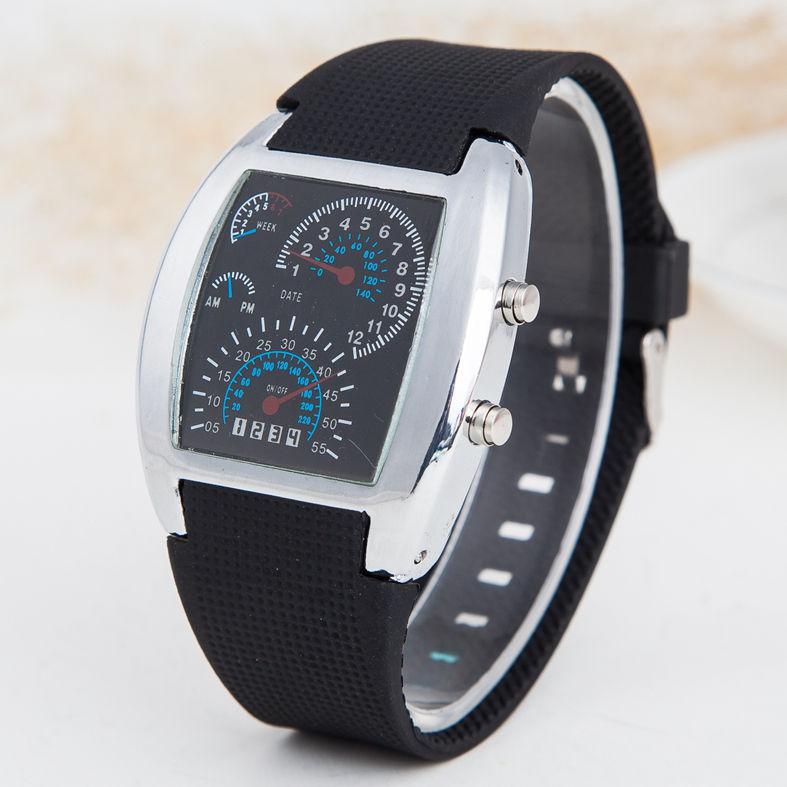 2018 Led Digitaluhr Herren Rennen Geschwindigkeit Sport Zifferblatt Silikonband Männliche Militärische Armbanduhr Relogio Masculino Reloj Hombre
