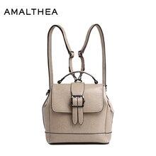 Амалфеи брендовые модные рюкзаки школьные сумки для подростков женские Разделение кожаный рюкзак женская сумка 2017 женщина Back Pack AMAS012
