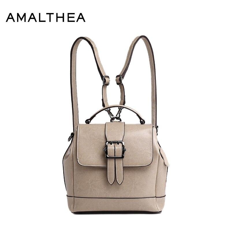 AMALTHEA Brand Fashion Backpacks School Bags For Teenagers Women Split Leather Backpack Women Bag 2017 Woman Back Pack AMAS012