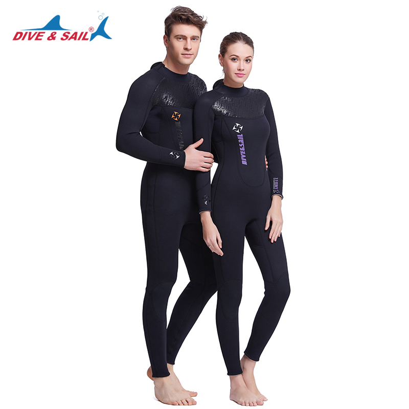 DIVE&SAIL Full Body 3MM Neoprene Winter Warm Wetsuit Diving Suit Snorkeling Gear for Men Women Swimming Surfing Spearfishing hot sale hbxy back zip waterproof women spandex bodysuit swimming full body suit for women lycra body suits men