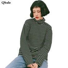 Qbale 2017 Spring Autumn Women's Basic Striped tee Shirts Long Sleeve Cotton Turtleneck Woman Tshirt Tops