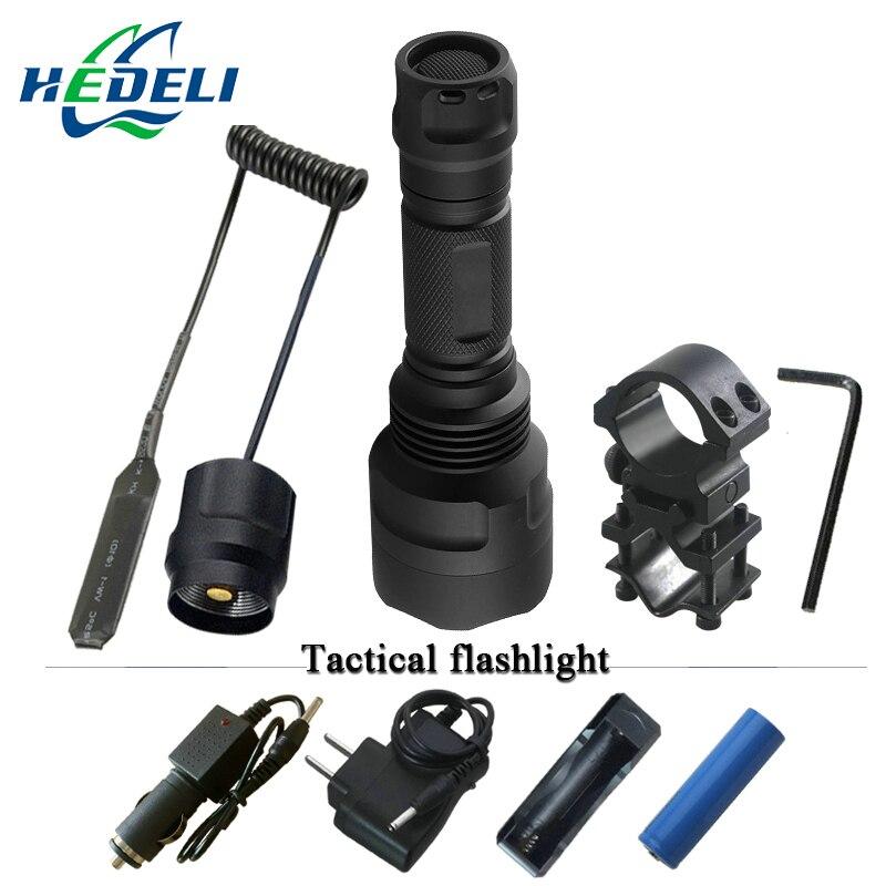Linterna táctica xm-l2 linterna led recargable impermeable caza luz cree xml t6 baterías recargables 18650