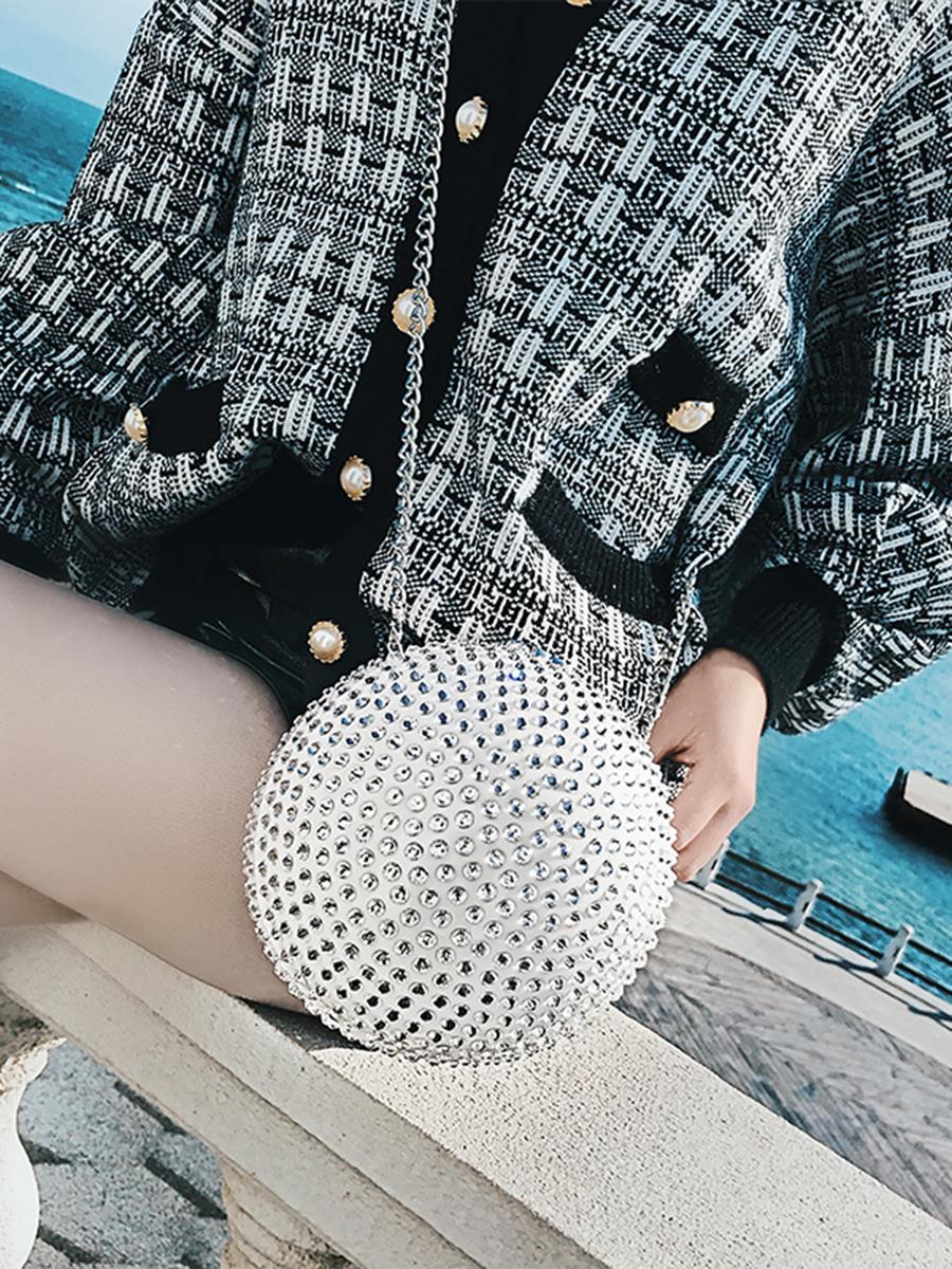 Nouvelle 2019 Diamant Chaîne Full De Mode Cristal Sac Pack Rond Épaule Perle Femelle Balle Dîner Blanc Bracelet Messenger Femmes kXOuiTPZ