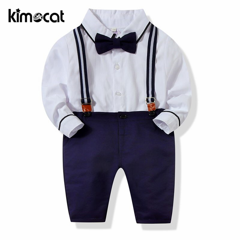 Kimocat Baby Boy Clothes Summer Gentleman Short Sleeve Bowtie Suspenders Shorts Outfit Set