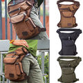 Men Outdoors Waist Canvas Military Travel Packs Fanny Leg Pack Shoulder Messenger Bag