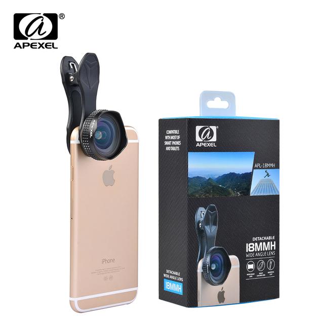 Apexel óptica pro lente de 18mm hd amplio ángulo de la cámara del teléfono celular kit de la lente 2x más paisaje para iphone samsung htc y smarphones 18 MM