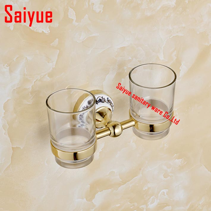 Fashion toothbrush holder,zinc alloy &glass ,Double tumbler cup holder, Bathroom cup holder bathroom set-wholesale allen roth brinkley handsome oil rubbed bronze metal toothbrush holder