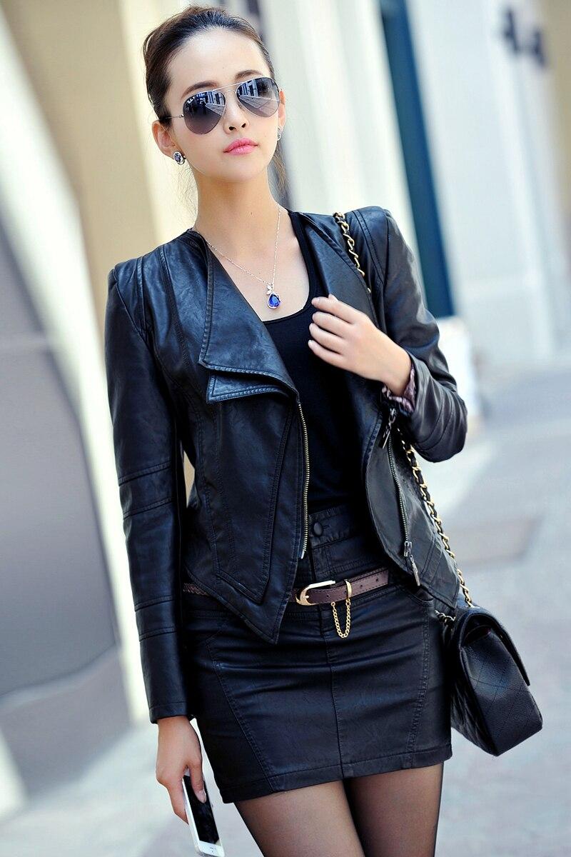 Leather jacket fashion - 2015 New Fashion Leather Jacket Women Jacket Coat Slim Biker Motorcycle Soft Zipper Girl Pu Leather Blazer Women Plus Size In Leather Suede From Women S