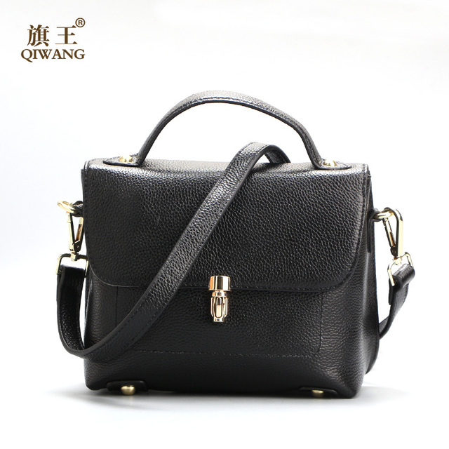 9cd784051 QIWANG 100% Real Genuine Leather Small Women Handbag Shoulder Bag Ladies Lock  Bags Wholesale price Elegant Bag on clearance
