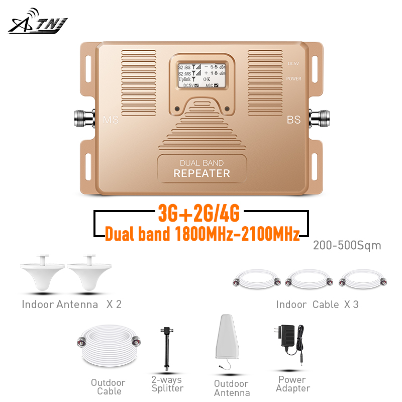 2019 2G 3G 4G Signal Repeater Dual Band 1800/2100MHz Mobile Signal Booster With Two Ceiling Antenna Cover500-600m2