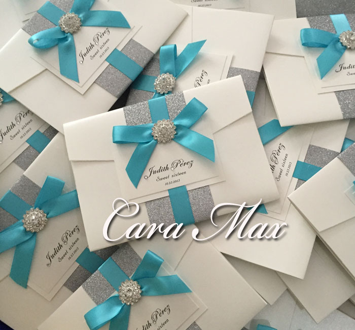 CA0709 Chic Modern Wedding Invitations with Ribbon and Crystal