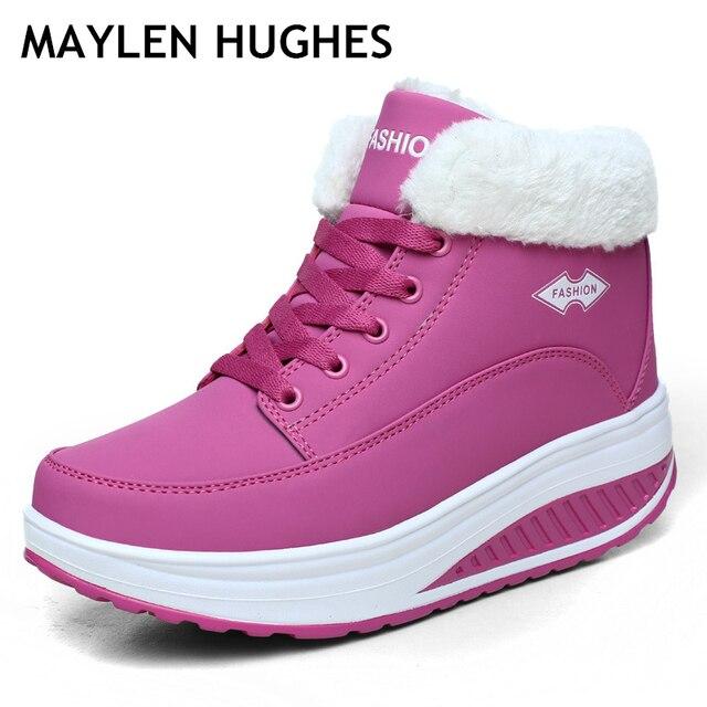 ใหม่แฟชั่นผู้หญิงหญิงฤดูหนาวผู้หญิงฝ้ายหิมะ - padde กำมะหยี่รองเท้า Fur Plush ข้อเท้ารองเท้าผู้หญิงลูกไม้ up รองเท้าส้น