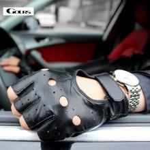 Gours frühling männer echte lederne handschuhe schwarz driving ungefüttert ziegenleder halbe fingerhandschuhe fingerlose gym fitness handschuhe gsm032