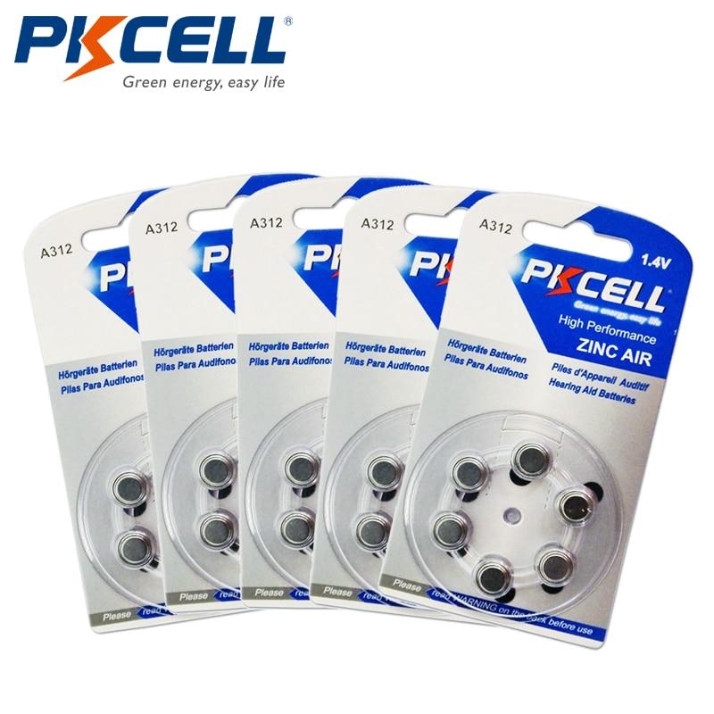 PKCELL 30 шт./5 карт слуховой аппарат Батареи <font><b>pr41</b></font> za312 a312 312a za312 <font><b>312</b></font> S312 цинк Air Батарея (6 шт./блистер)