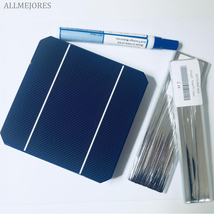 ALLMEJORES 25pcs Monocrystalline solar cells 3.07W/pcs top quality +Enough tabbing busbar wire+flux pen for diy 12V solar panel-in Solar Cells from Consumer Electronics    1