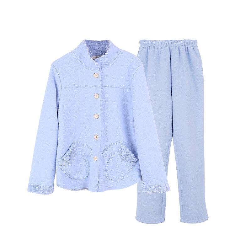 2018 Winter hot koop Vrouwen flanel Thicken warme Pyjama Set Staande kraag Nachtkleding Pak lichtblauw Pyjama casual homewear - 6