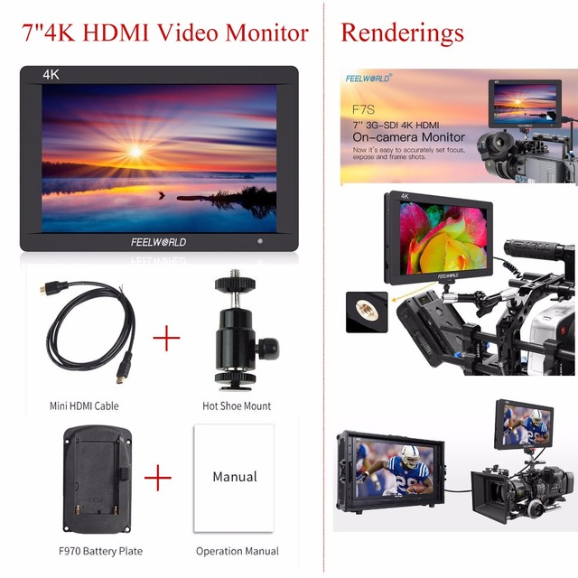 "Feelworld F7S 7 Inch 3G-SDI HDMI Monitor 1920x1200 Full HD 4K HDMI Video Monitor with 7"" IPS Video Display for Camera/Video"