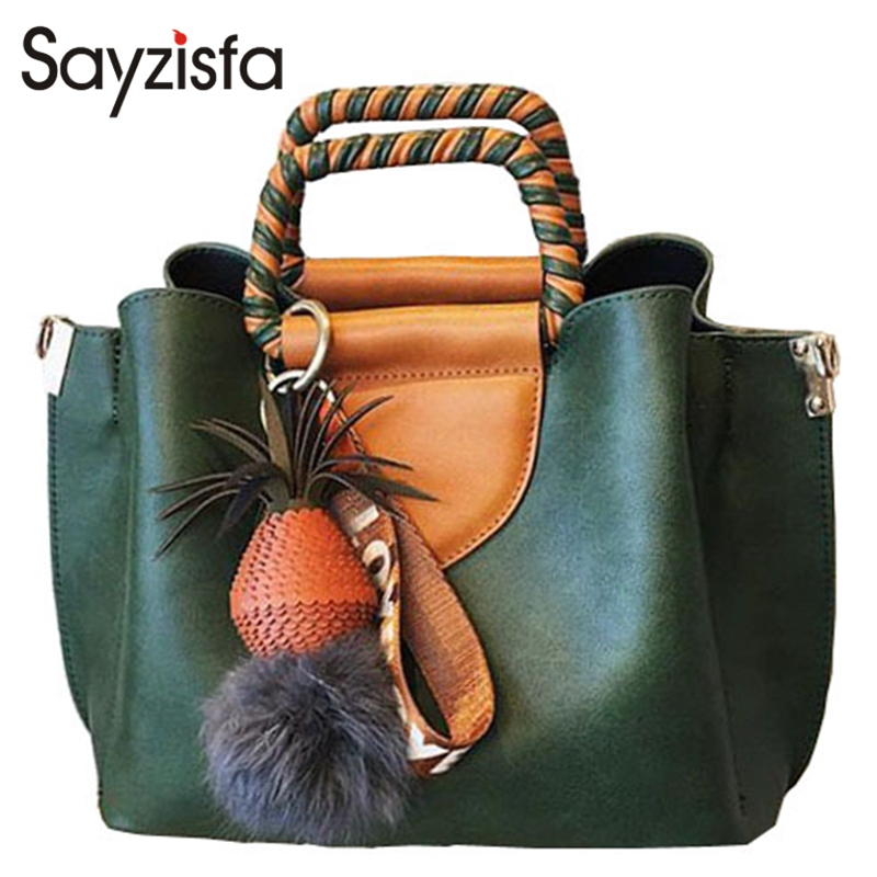 Sayzisfa Brand New Women Handbags Leather Woman's Tote bag 2017 Vintage Design Hair ball Ladies Shoulder Bags Female Bolsa T545 sayzisfa 2017 brand new women handbags fashion designer female pu leather bags ladies shoulder bag ladies bags totes bolsa t144