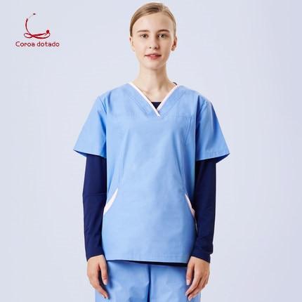 Operating Dress Nurse Hand Washing Dress Short Sleeve Ladies Hand Washing Dress Beauty Salon Pet Hospital Uniform Split Suit