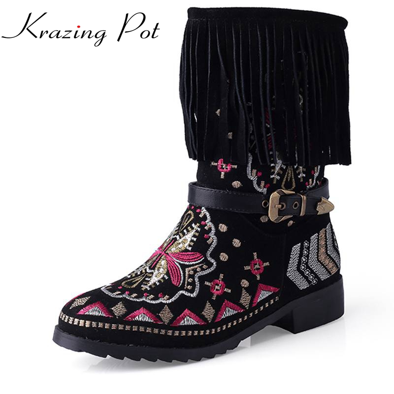 New winter fashion brand embroidery snow boots tassel  increased women ankle boots thick heel shoe causal motorcycles boots L20 new fashion superstar brand winter shoes embroidery snow boots tassel women mid calf boots thick heel causal motorcycles boots
