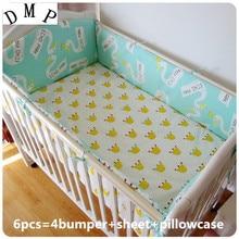 Promotion! 6PCS Baby Cot Bedding Set Newborn Cartoon Bear Crib Bedding (bumpers+sheet+pillow cover)