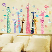 1Pcs CartoonColor Giraffe Vinyl Wall Stickers For Kids Rooms Living Room Nursery Background Wall Decor Wallpaper