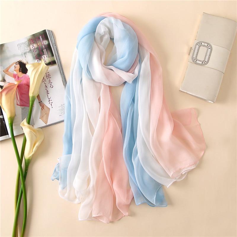 big size 2018 summer women scarf fashion soft candy color silk scarves shawls and pashmina lady caps female bandanas Foulard