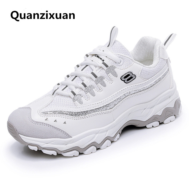 Women Vulcanized Shoes Fashion Students Chunky Breathable Shoes Women Flat Casual Sneakers Ladies Lace Up Platform Shoes smile circle spring autumn women shoes casual sneakers for women fashion lace up flat platform shoes thick bottom sneakers