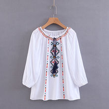 2019 Spring Women Vintage Blouse Boho Floral Embroidered Lantern Sleeve Tops Frida Kahlo Ladies Retro Beach Party Shirts(China)
