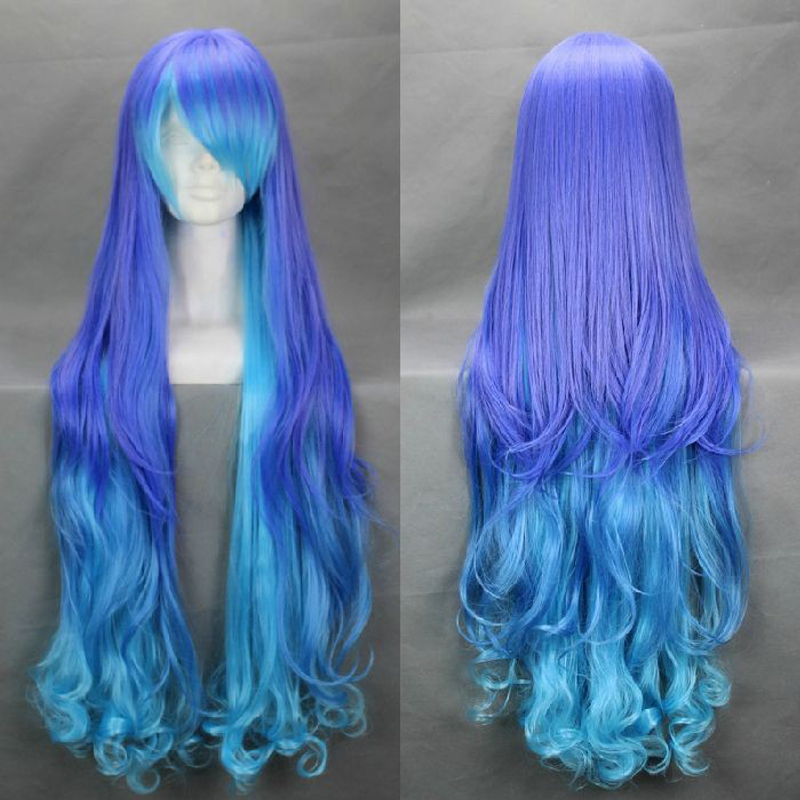 Vocaloid ANTI THE HOLiC 100cm Blue Purple Mix Wavy Long Synthetic Hair Cosplay Costume Wigs + Free Wig Cap