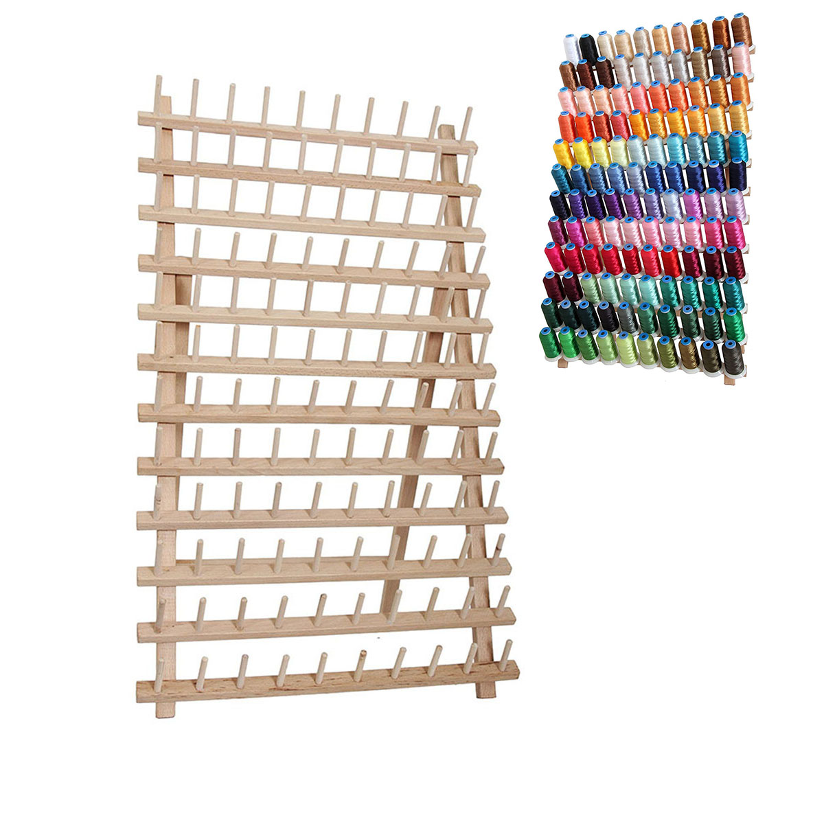 Stand-Rack Holds-Organizer Storage-Holder Embroidery-Machine Spool-Cone Wall-Mount Wood-Thread