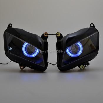Custom Assembled Modified Conversion HID Projector Headlight Blue Angel Eyes Fit For Honda CBR600RR CBR600 RR 2007-2012