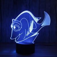 Amazing Magical Optical Illusion 3D LED Night Light Reef Fish USB Table Light Novelty Lighting Colorful