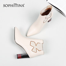 SOPHITINA Fashion New Women's Boots High Quality Cow Leather Sexy Pointed Toe Special Design Shoes Square Heel Ankle Boots PO219(China)