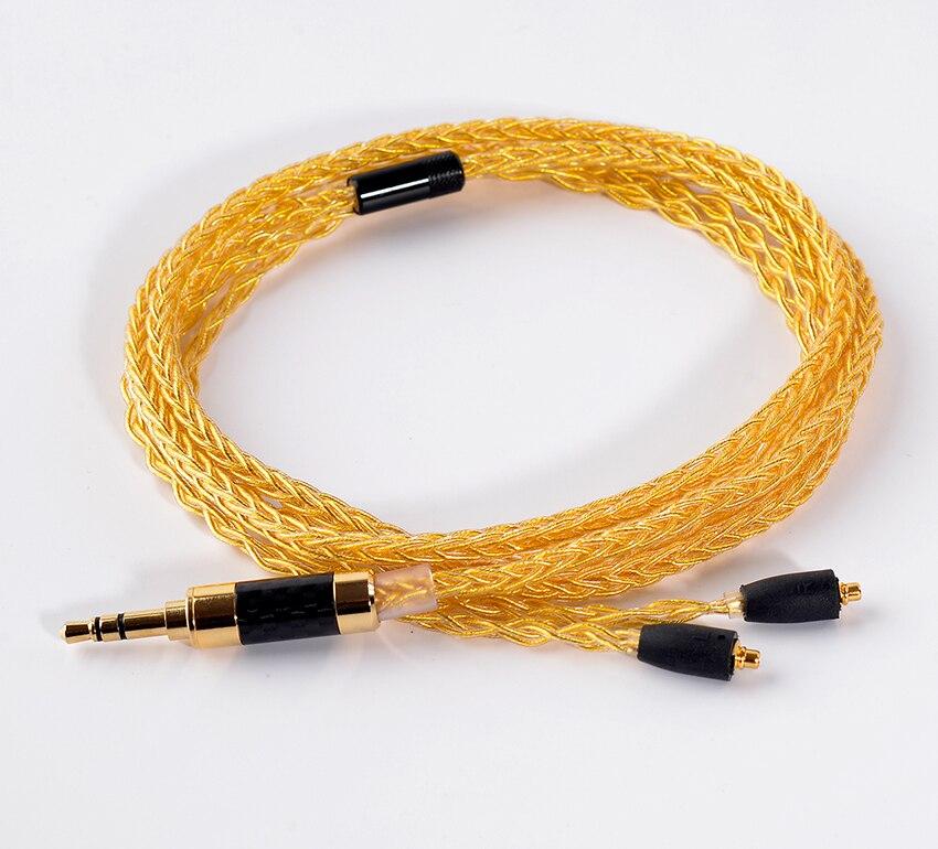 Fait à LA main bricolage mis à jour 8 cœurs 6N or argent mélangé MMCX ligne de casque 3.5mm fiche câble cordon pour SE525 SE535 SE846 UE900 LA DT2