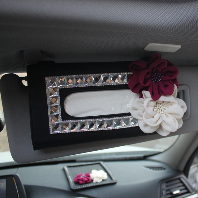 Роза цветы кристалл ИСКУССТВЕННАЯ кожа солнце затенение автомобиль коробка ткани девушки автомобильные аксессуары