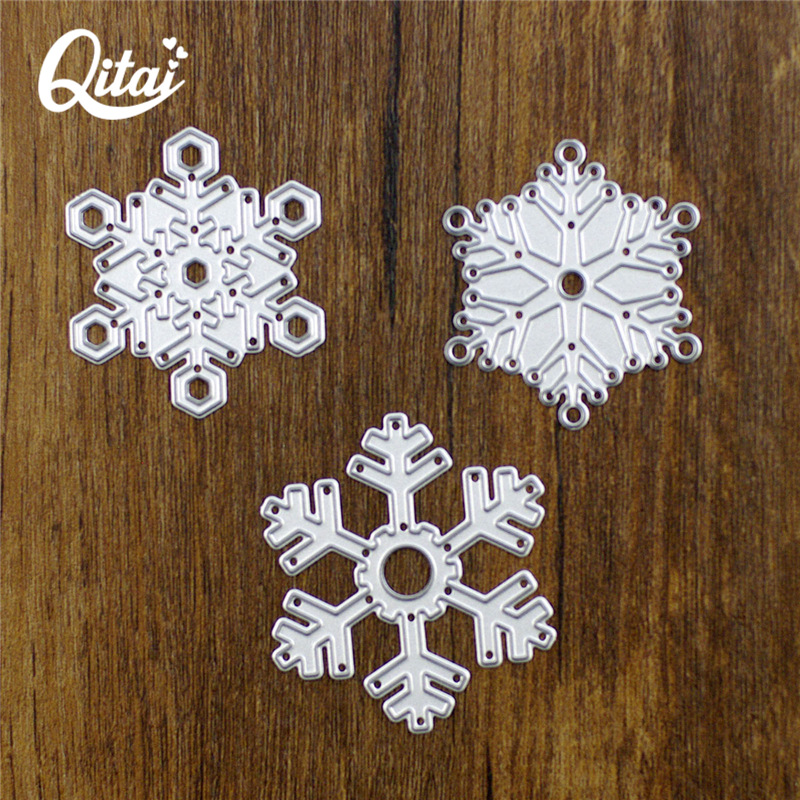 QITAI 3pcs / lot Snowflake Shape Christmas DIY Paper Cutter Skjære Die Metal Materiale Creative Decoration Scrapbook Engros D49